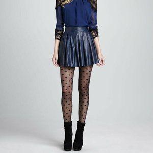 Alice + Olivia Pleat Box Leather Skirt Blue Navy